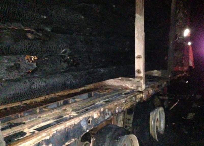 Сгорело 30 кубов леса. В Смоленской области у фуры на ходу взорвалось колесо