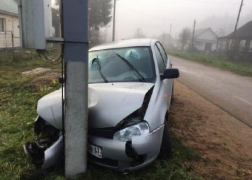 В Тёмкино Калина протаранила столб. Пассажир госпитализирован
