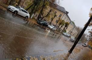 В Смоленске дожди затопили отремонтированные дороги