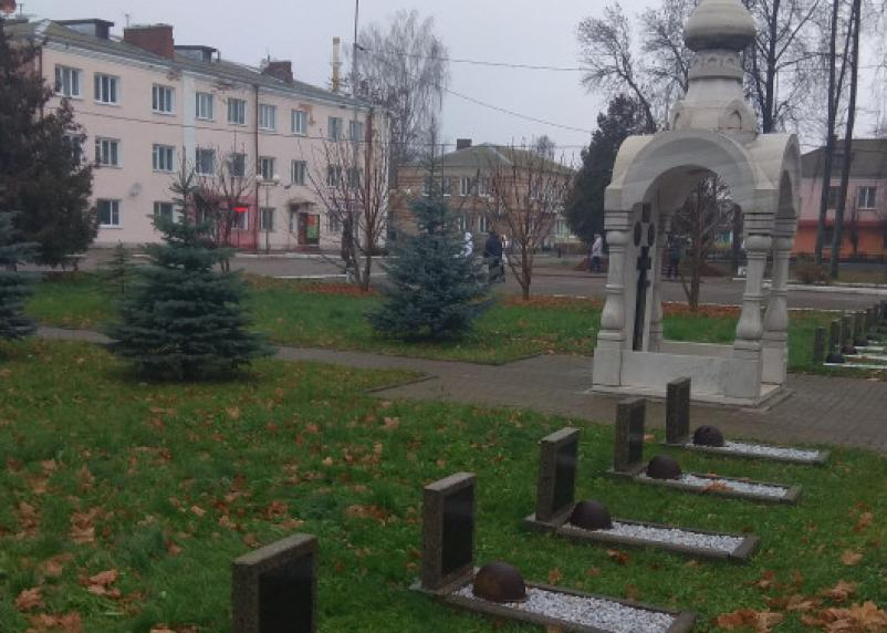 В Ельне на могилах советских солдат лежат немецкие каски?