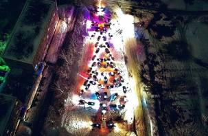 Огромную елку из автомобилей создали в Смоленской области