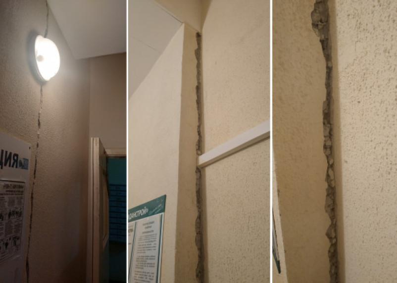 В смоленской новостройке жильцов встревожили трещины в подъездах
