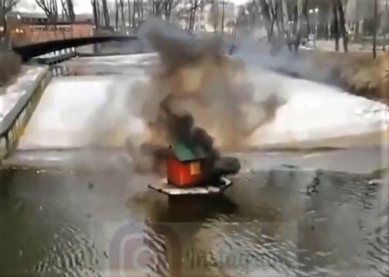 Неизвестный разбомбил в смоленском парке дом лебедей