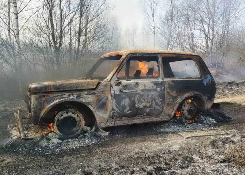 В Сафоновском районе «Нива» сгорела дотла