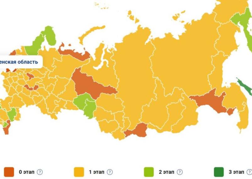 В России показали карту выхода регионов из ограничений