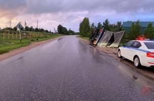 В Смоленской области на полном ходу перевернулась фура