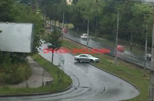 В Смоленске на дамбе иномарка вылетела с дороги