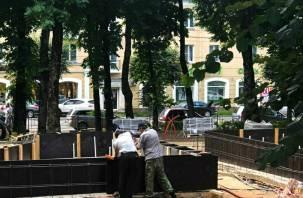 В сквере имени Пушкина в Смоленске залили бетоном чашу фонтана