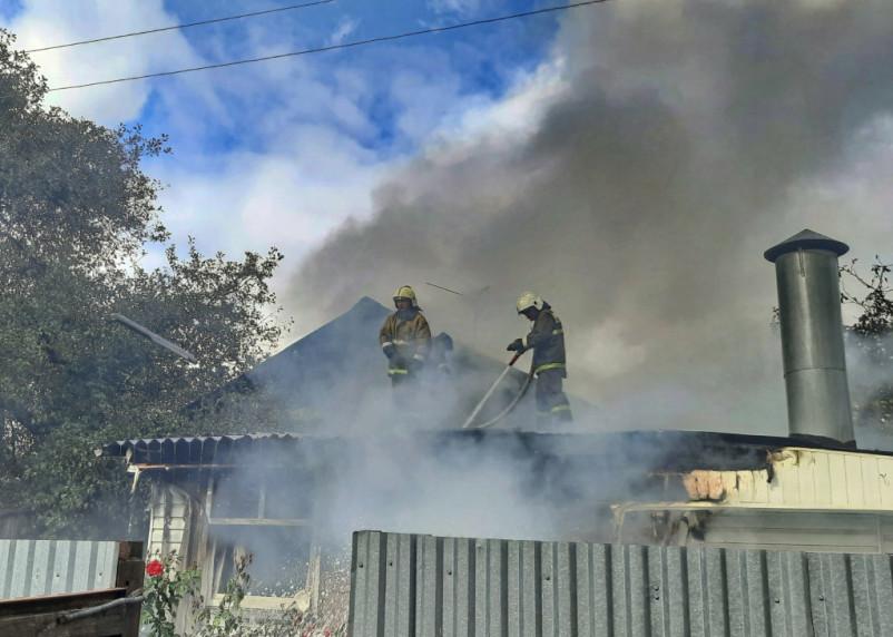 Пожар вспыхнул на улице Фрунзе