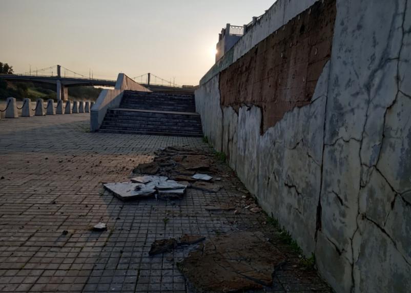 Набережная Днепра в Смоленске снова разваливается