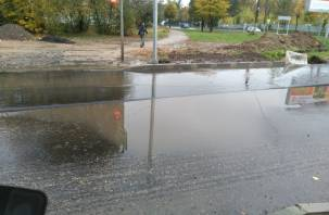 Асфальт в воду: ремонт улицы Попова в Смоленске преподнес новые сюрпризы