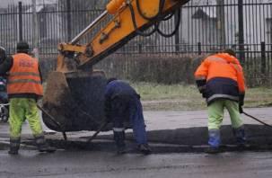 В Смоленске укладывают асфальт во время снега