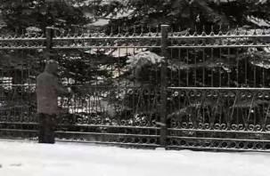 В Гагарине во время метели устроили покраску забора ж/д вокзала