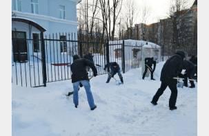 В Смоленске чиновники вышли на субботник по уборке снега