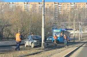 В Смоленске на дамбе авто влетело в столб