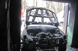 Сгорел SsangYong. Уточненная информация по пожару на улице Нахимова в Смоленске
