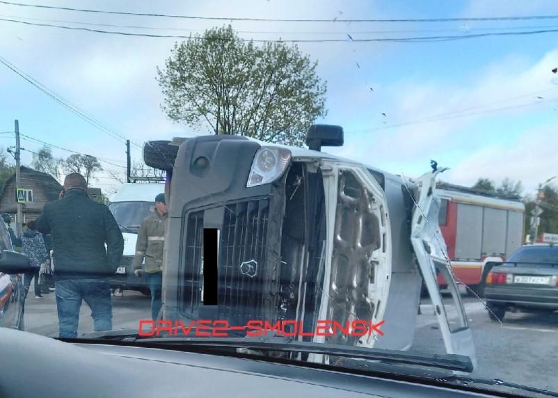 В Смоленске на Волоке перевернулась маршрутка с пассажирами