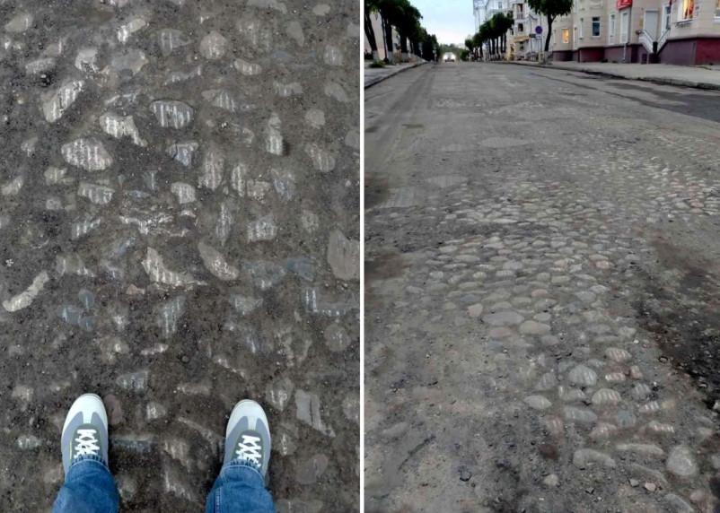 На улице Пржевальского в Смоленске проявилась булыжная мостовая