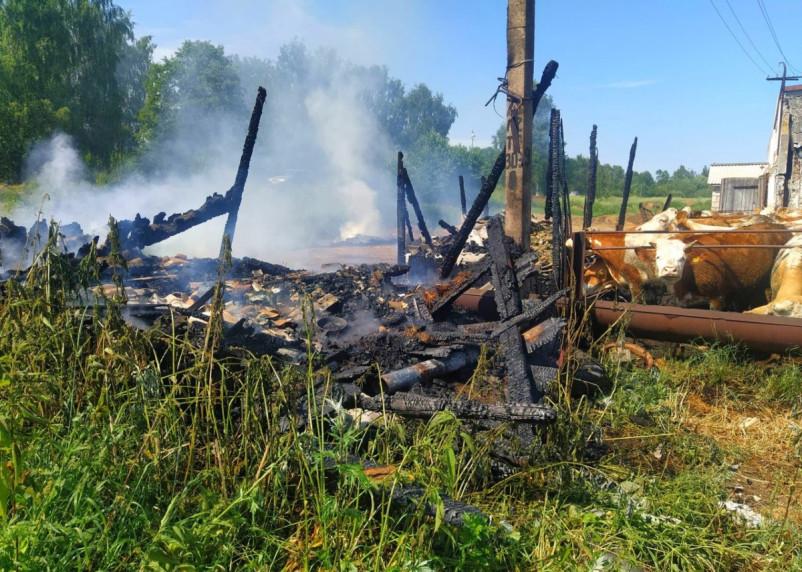 В Сафоновском районе на сельскохозяйственном предприятии произошел пожар