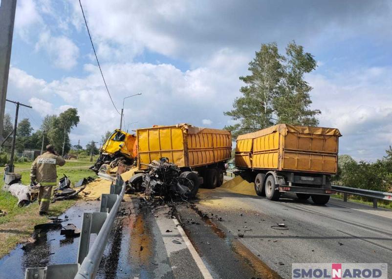Дорога заблокирована, кабина оторвана. В Стодолище Смоленской области крупное ДТП с бензовозом