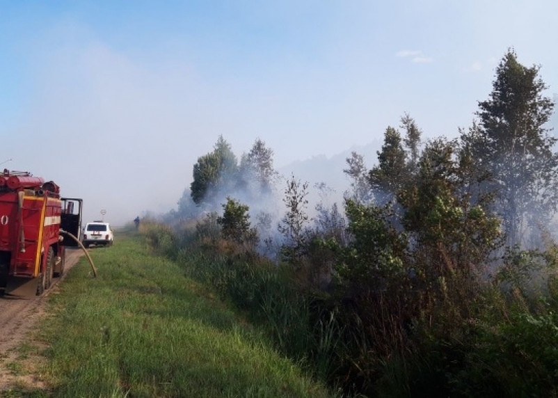 В Рославльском районе  пожарный поезд тушил бывший торфосклад