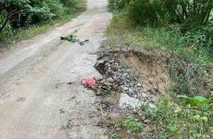 Жители деревни в Хиславичском районе пожаловались на разрушение дороги