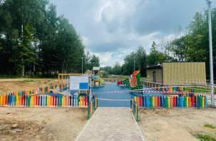 В Смоленске на детской площадке в «Соловьиной роще» уложили резиновое покрытие