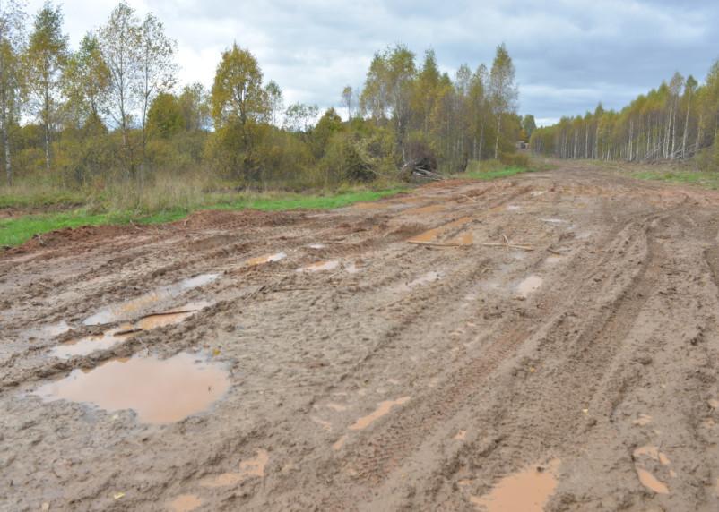 Дорогу в Новодугинском районе разбили большегрузы. Теперь сообщение между сёлами только для внедорожников