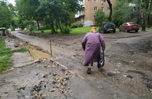 В Смоленске в ходе обустройства «комфортной среды» разворотили новый бордюр