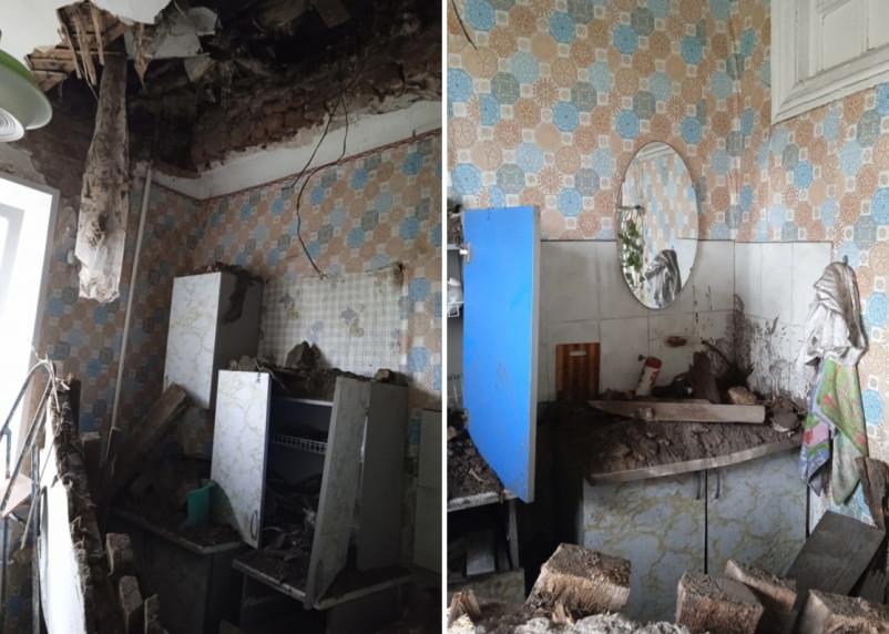 «Случилось страшное». В Вязьме на кухне жилого дома рухнул потолок
