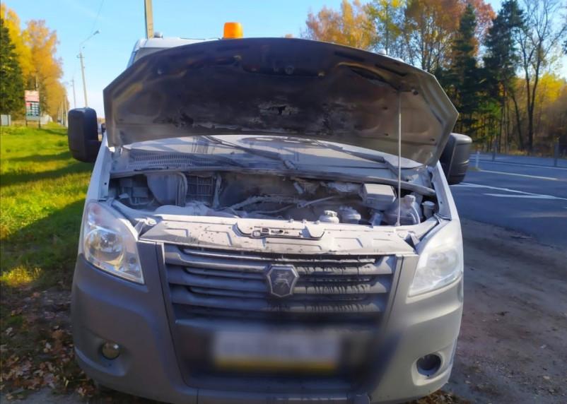 В Смоленской области на трассе загорелась машина