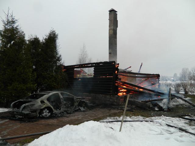 Пожар вдеревне Фефелово. Пламя, охватившее авто, перекинулось надом